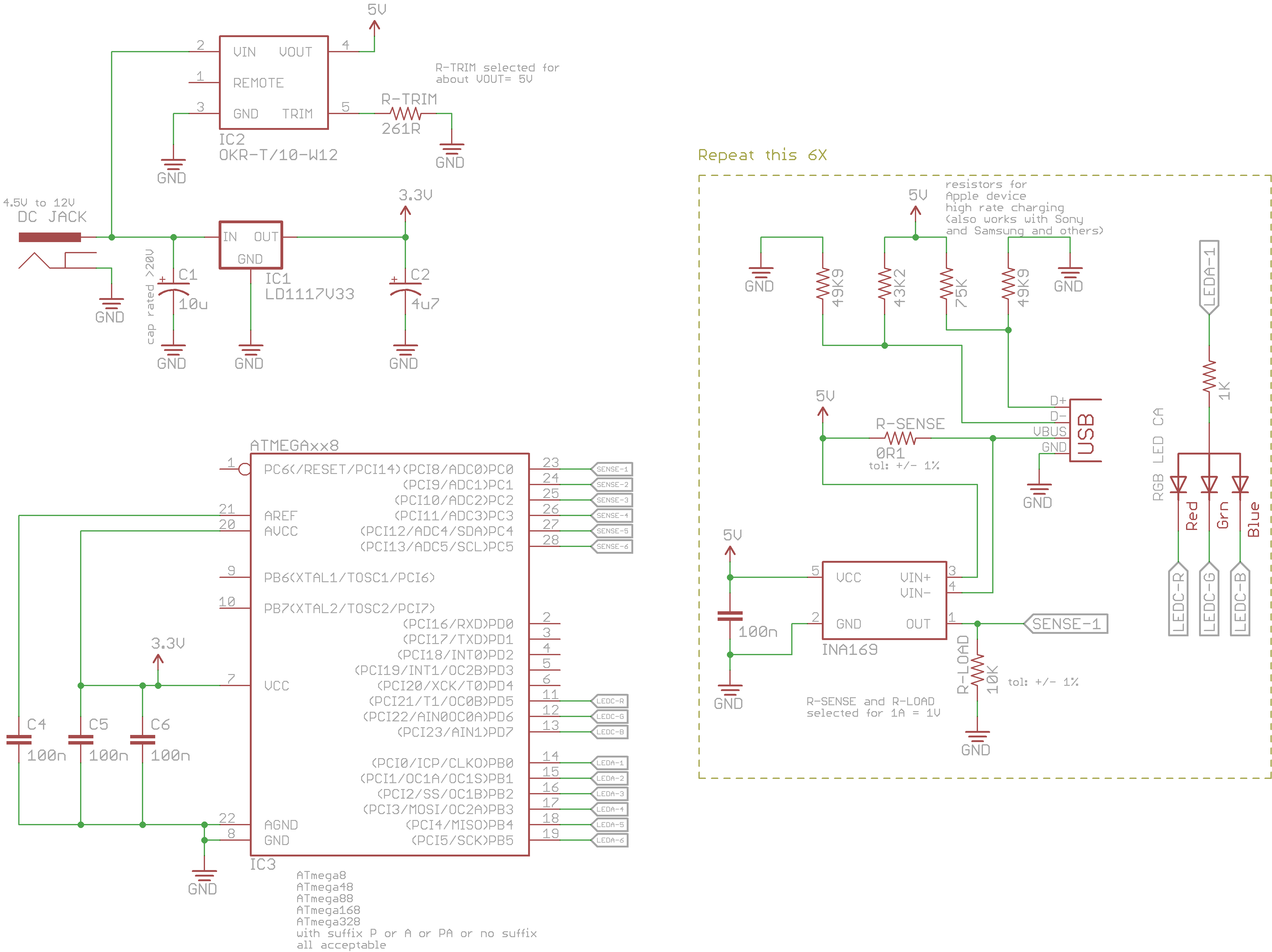 Simple 6x Usb Charger With Current Monitor Eleccelerator Circuit Diagram Here Is The Schematic And Firmware C Code